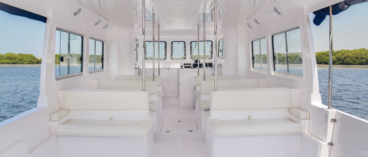 Seating area aboard the Touring 40 by Gulf Craft, UAE