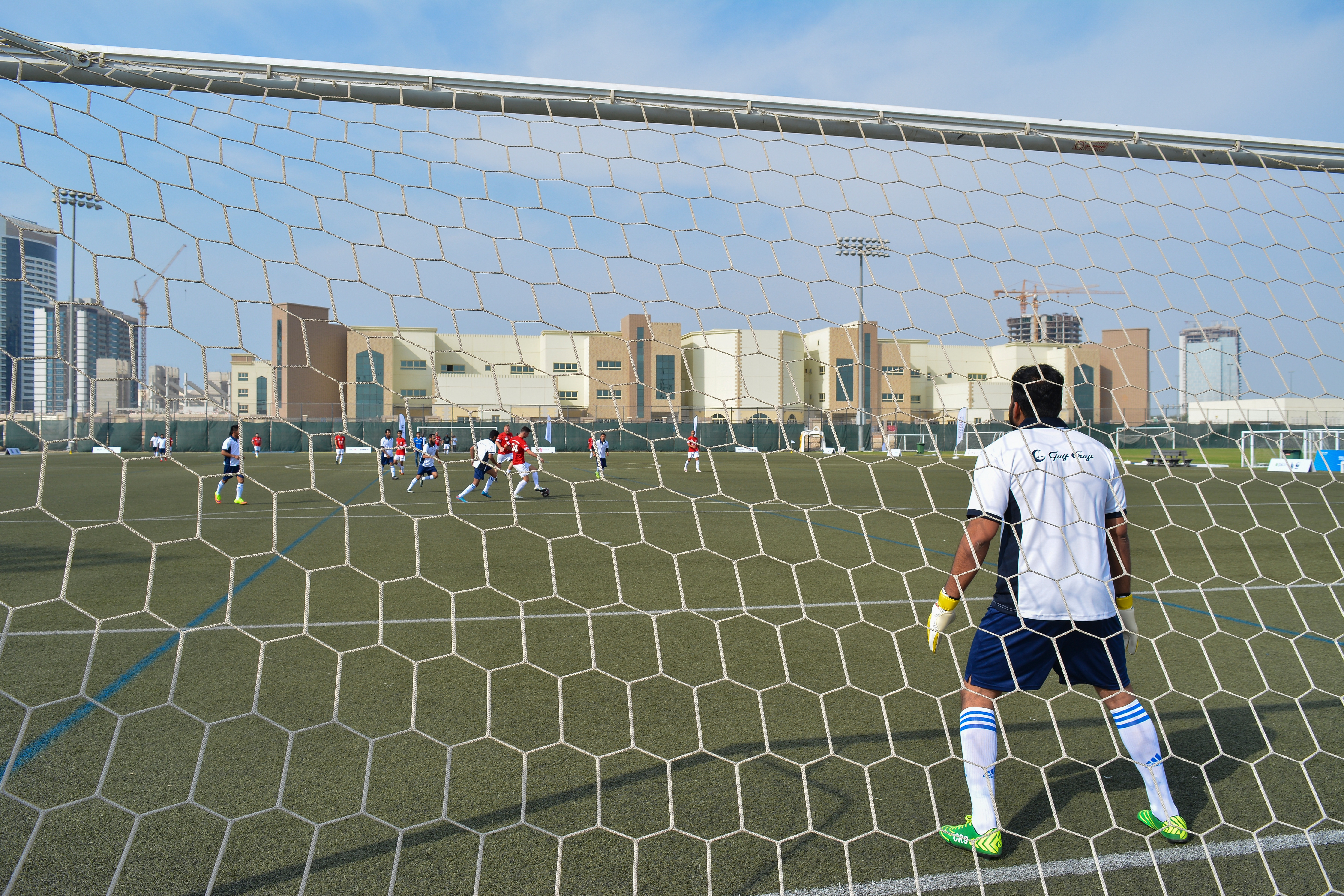 Gulf Craft goal keeper patiently waits to block the ball