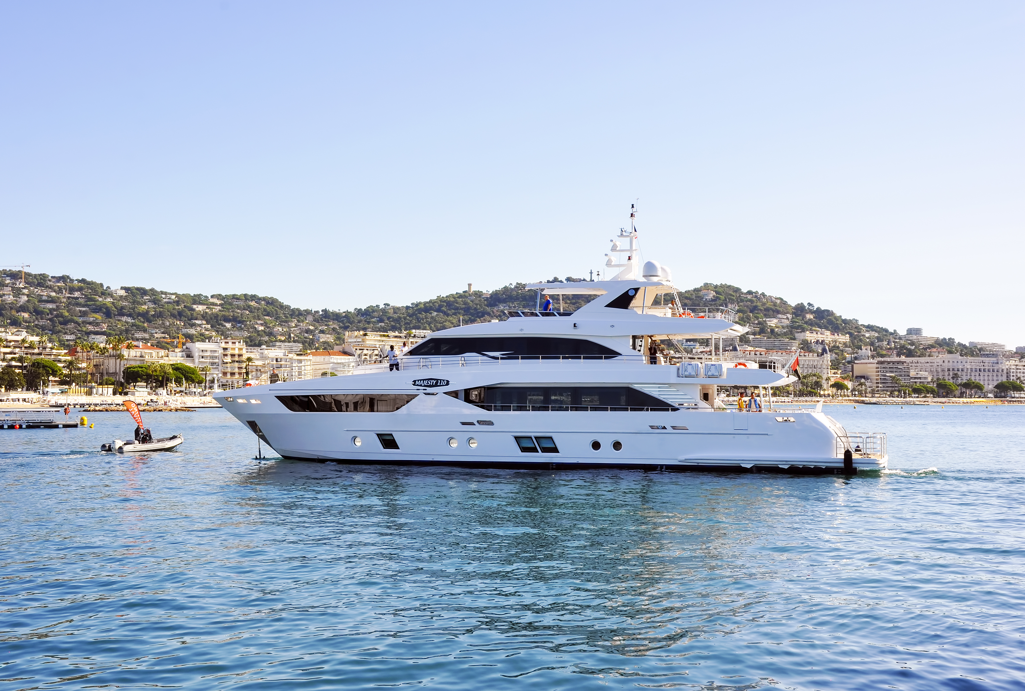 Majesty 110 as it enters Cannes Yachting Festival copy