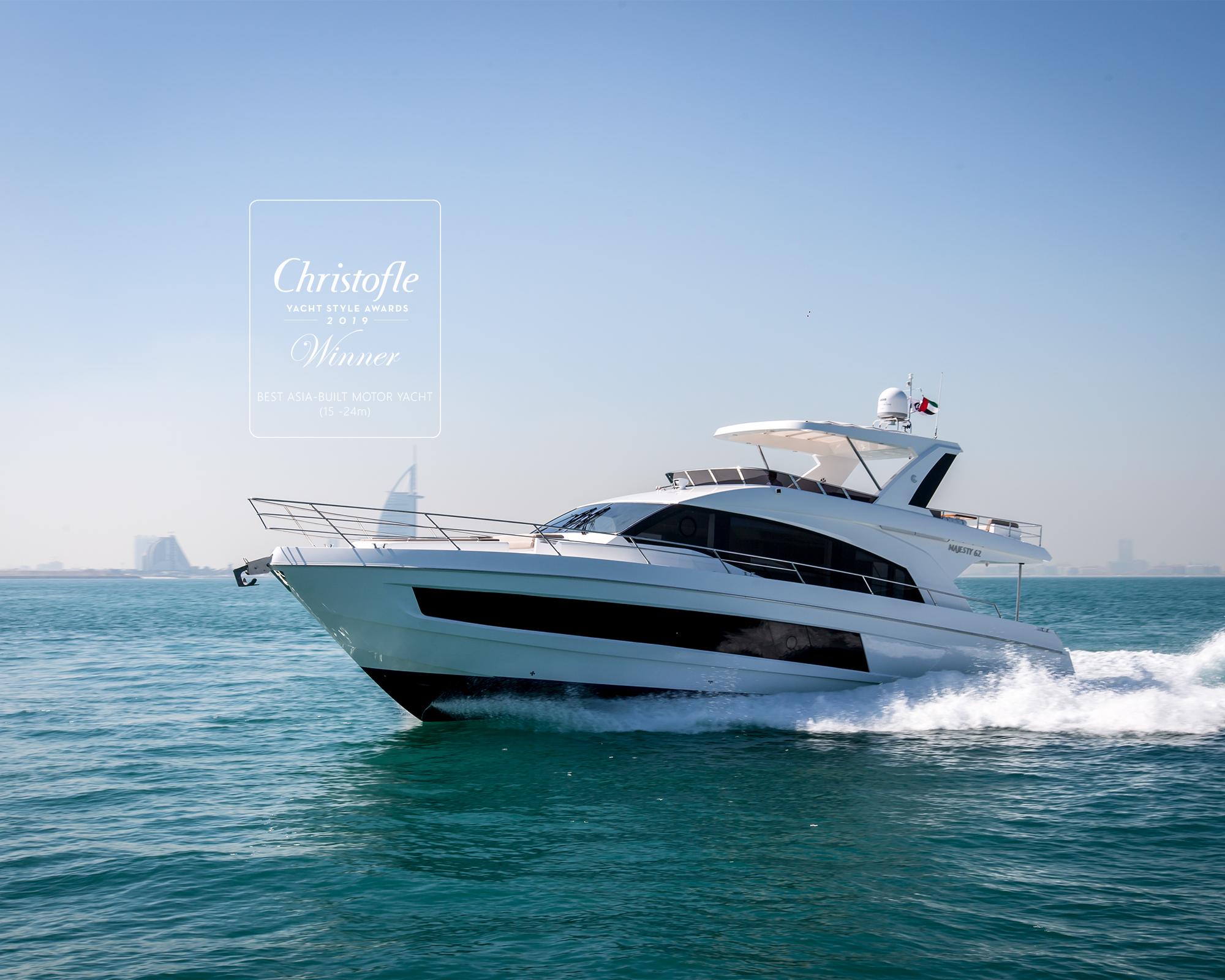 Award-winning Majesty 62 at the Dubai Boat Show 2019
