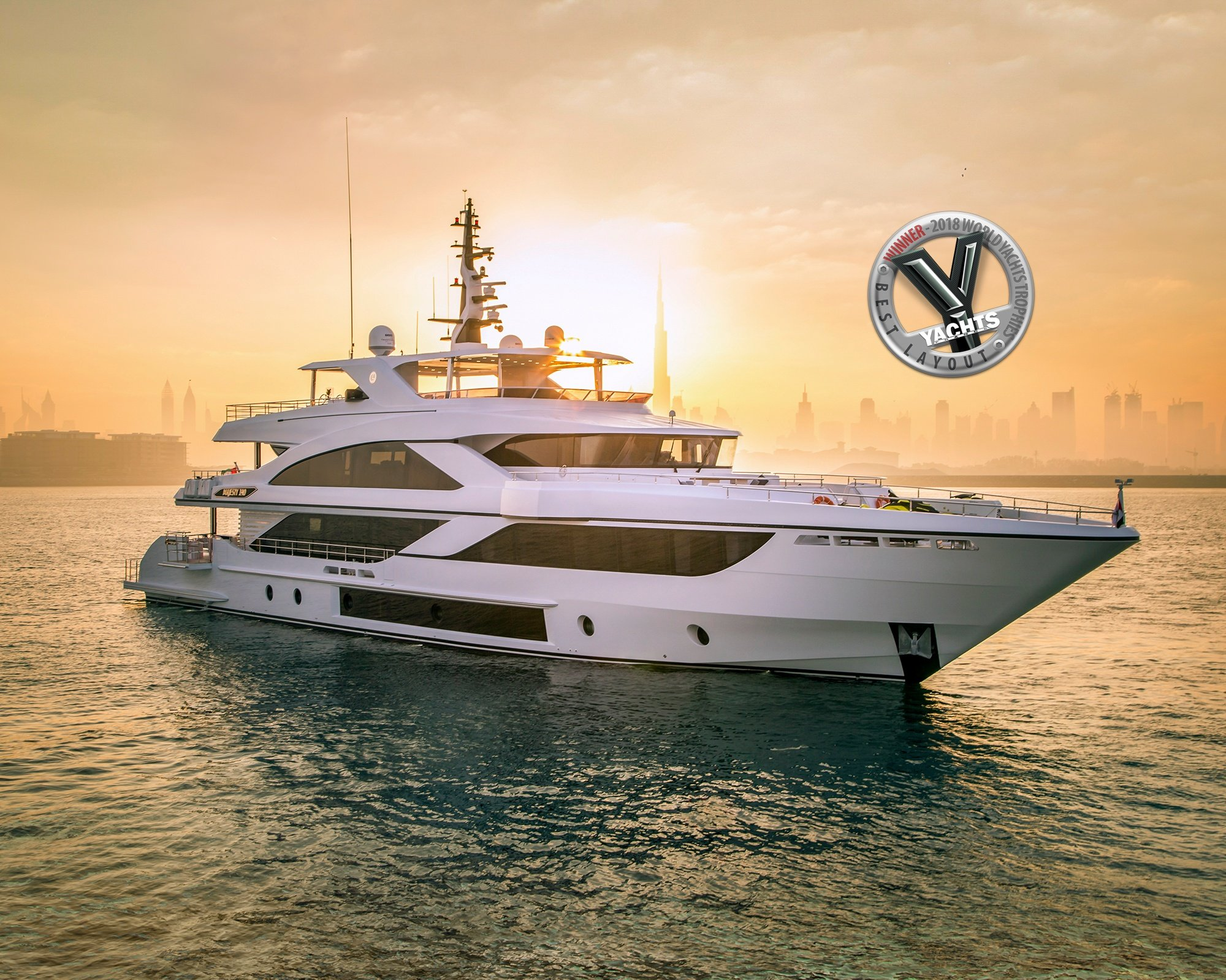 Majesty 140 wins 'Best Layout' award at the World Yachts Trophies