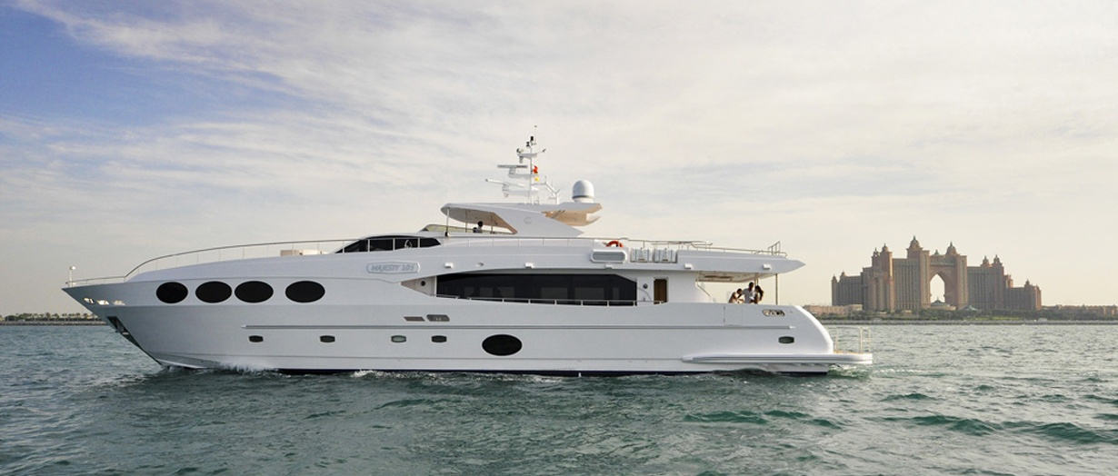 The elegantly designed Majesty 105 by Gulf Craft, UAE